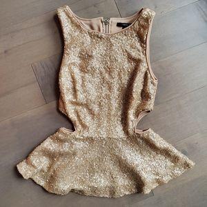 Rose gold sequin peplum top blouse